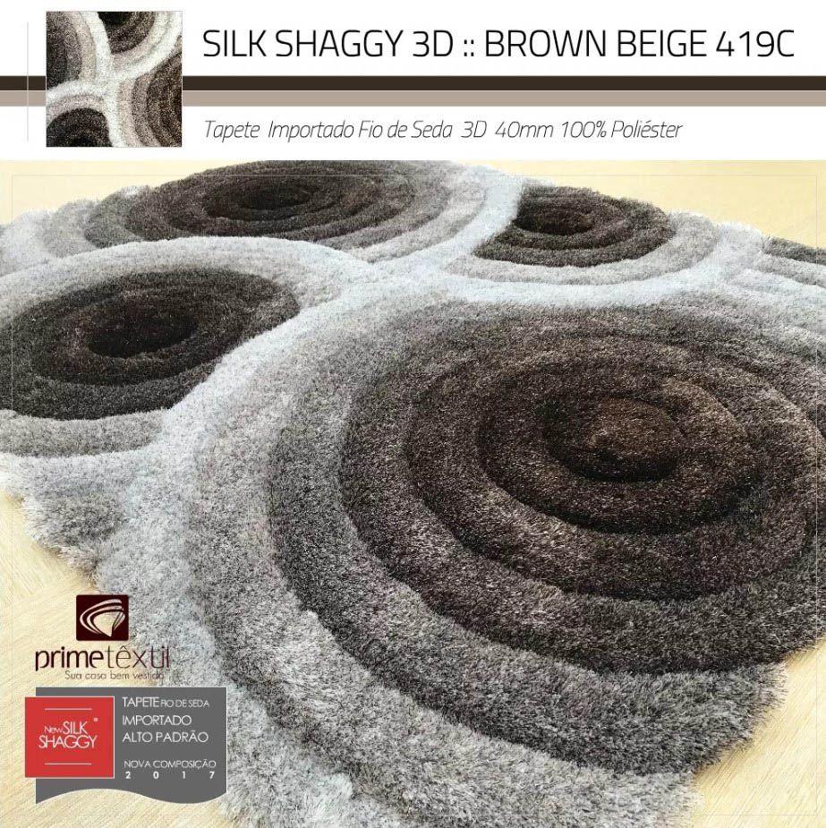Tapete Sala Silk Shaggy 3D Fio de Seda 40mm Geométrico Marrom Bege Branco 1,50 x 2,00m