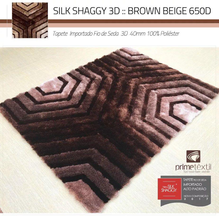 Tapete Sala Silk Shaggy 3D Fio de Seda 40mm Mesclado Marrom Bege 1,50 x 2,00m