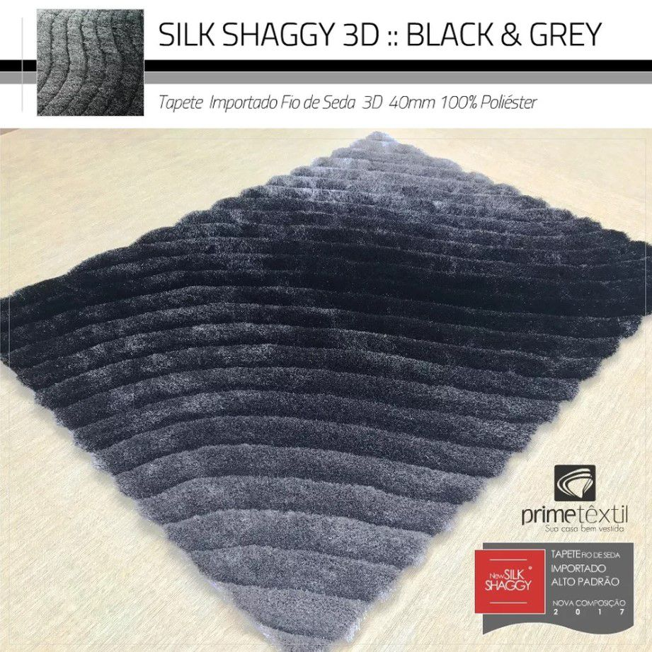 Tapete Sala Silk Shaggy 3D Fio de Seda 40mm Mesclado Preto Cinza Prata 1,50 x 2,00m