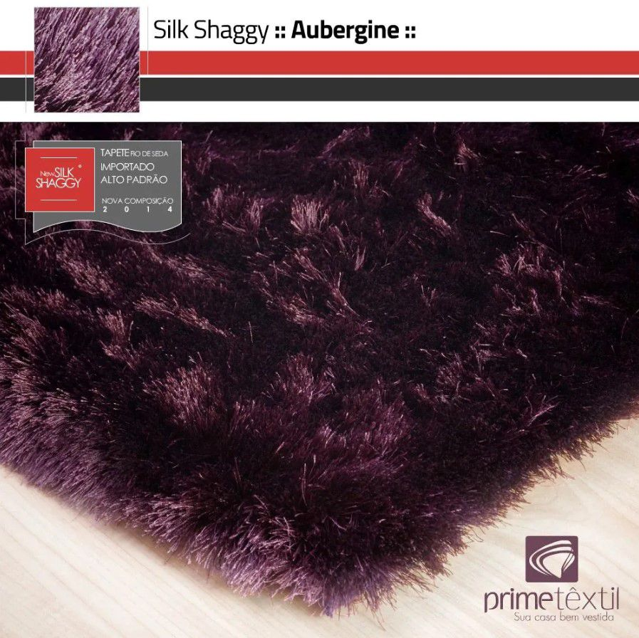 Tapete Silk Shaggy Aubergine, Berinjela, Fio de Seda 40mm 2,00 x 3,00m