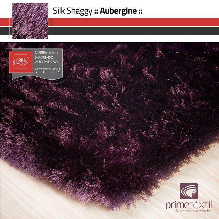 Tapete Silk Shaggy Aubergine - Berinjela - Fios de Seda 40mm