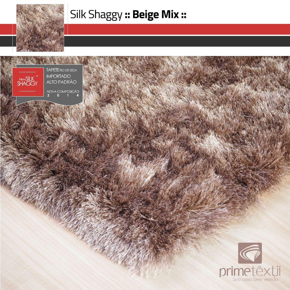 Tapete Silk Shaggy Beige Mix Fio de Seda Mescla Bege Marrom 0,50x1,00m