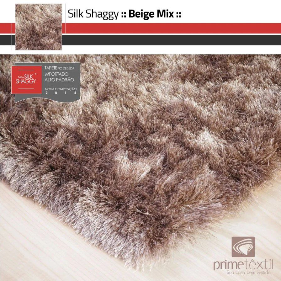 Tapete Silk Shaggy Beige Mix, Bege/Marrom, Fio de Seda 40mm 3,00 x 4,00m