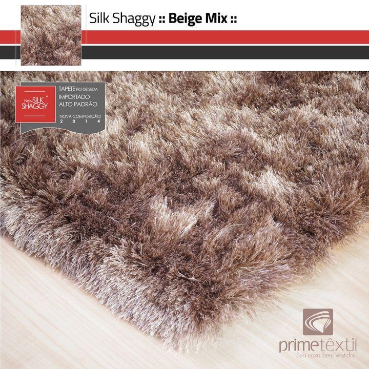 Tapete Silk Shaggy Beige Mix - Mescla Bege & Marrom - Fios de Seda 40mm