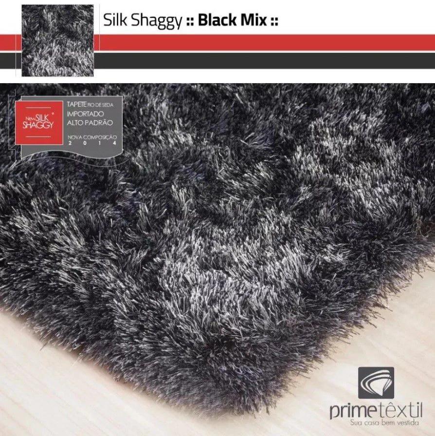 Tapete Silk Shaggy Black Mix, Mescla Prata, Fio de Seda 40mm 2,50 x 3,00m