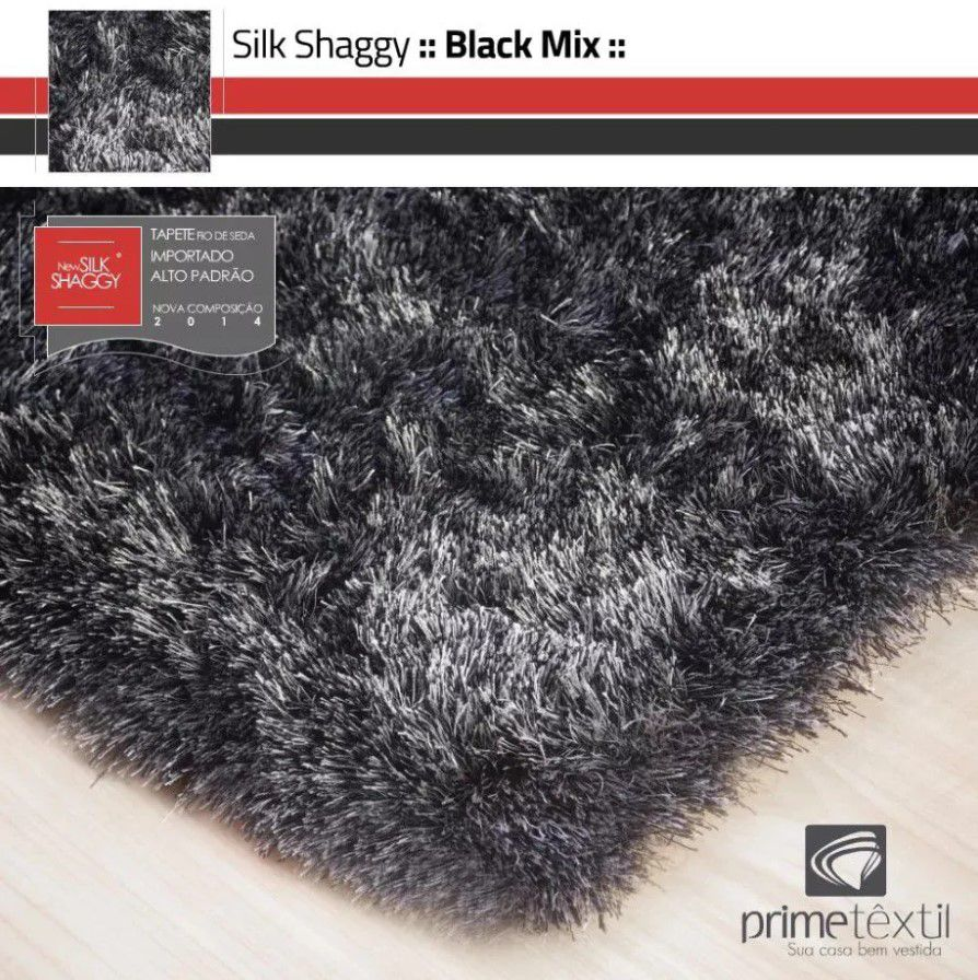 Tapete Silk Shaggy Black Mix - Preto/Cinza, Fio De Seda 40mm 1,00 x 1,50m