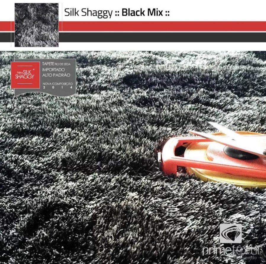 Tapete Silk Shaggy Black Mix - Preto/Cinza, Fio De Seda 40mm 1,50 x 2,00m