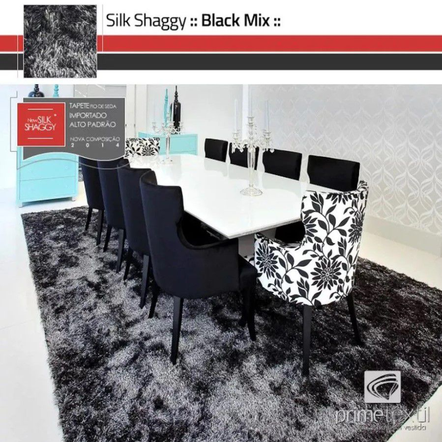 Tapete Silk Shaggy Black Mix - Preto/Cinza, Fio De Seda 40mm 2,00 x 2,50m