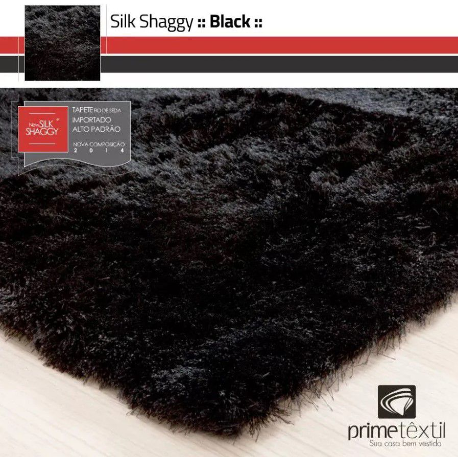 Tapete Silk Shaggy Black, Preto Onix, Fio De Seda 40mm 2,00 x 3,00m