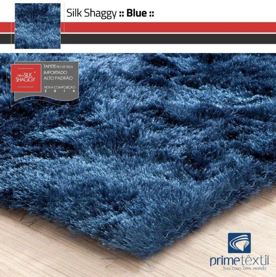 Tapete Silk Shaggy Blue, Azul Petróleo, Fio de Seda 40mm 1,00 x 1,50m
