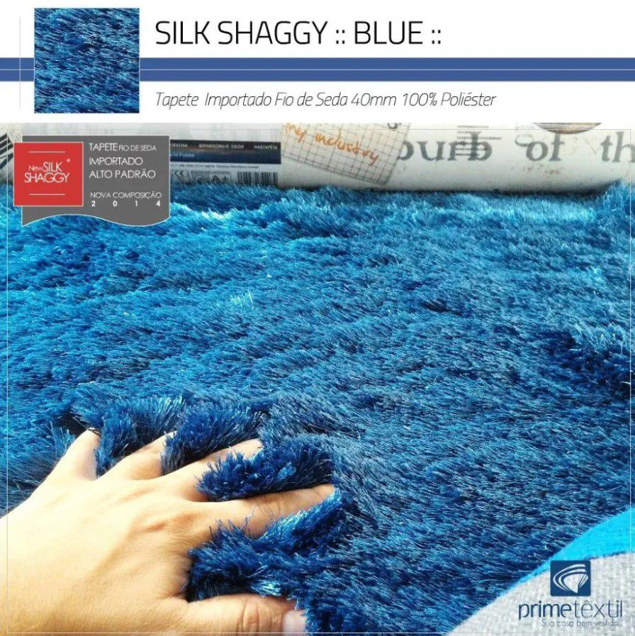 Tapete Silk Shaggy Blue, Azul Petróleo, Fio de Seda 40mm 3,00 x 4,00m