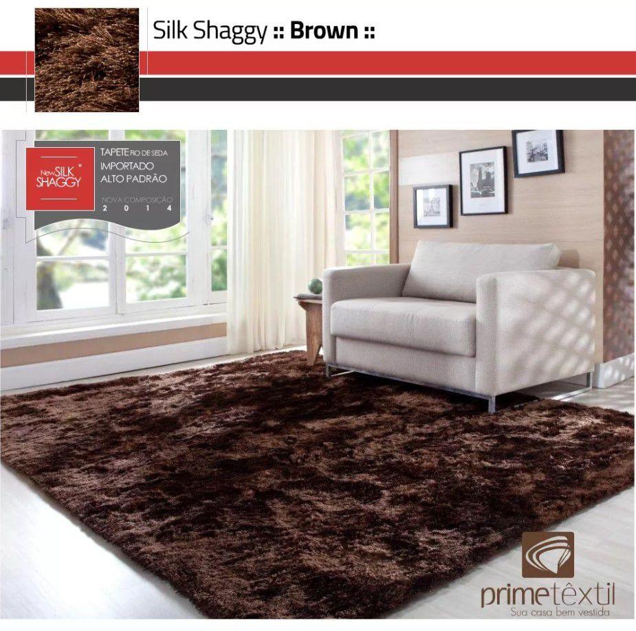 Tapete Silk Shaggy Brown, Marrom , Fio de Seda 40mm