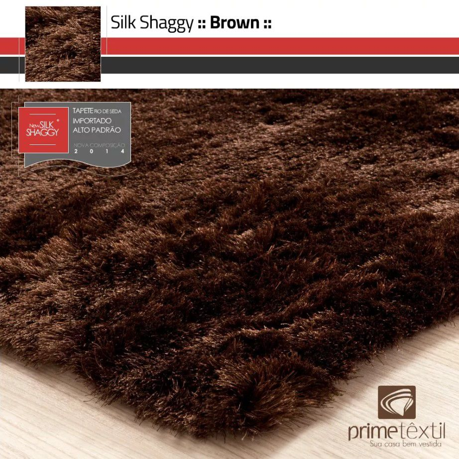 Tapete Silk Shaggy Brown, Marrom , Fio de Seda 40mm 0,50 x 1,00m