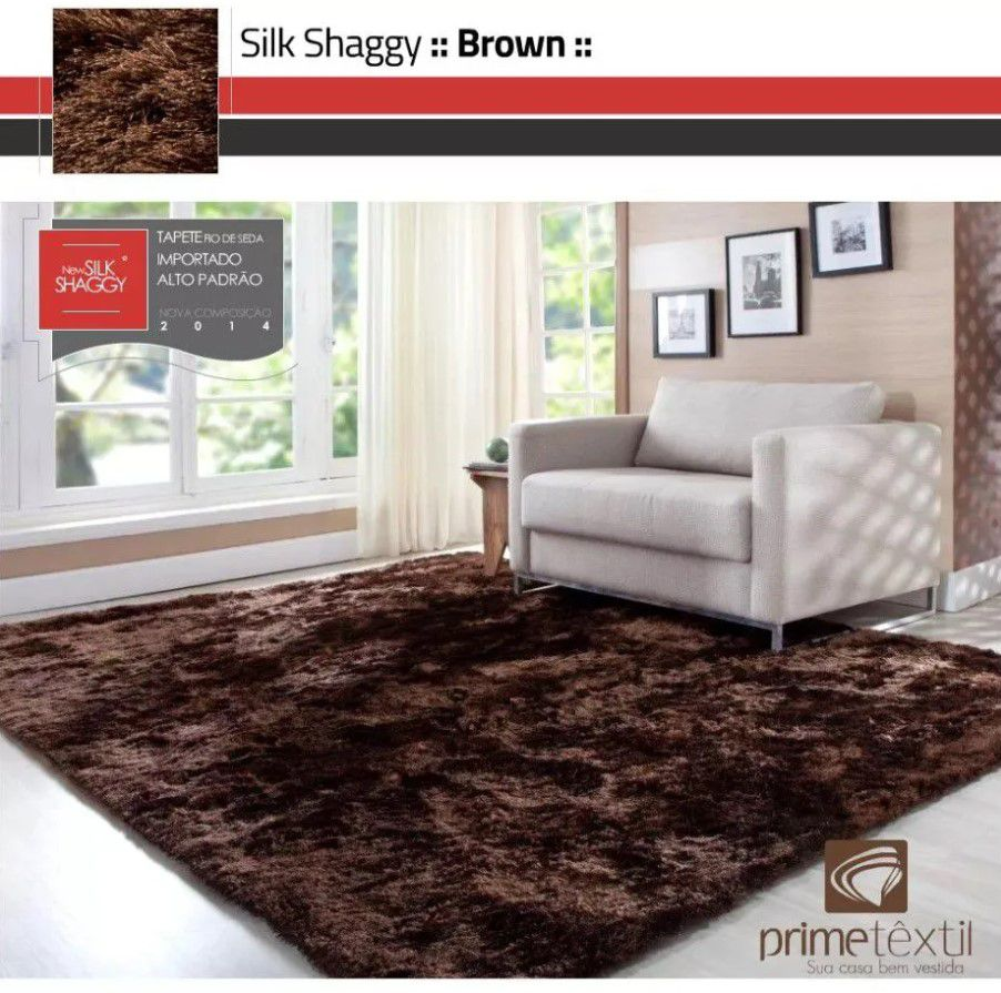 Tapete Silk Shaggy Brown, Marrom , Fio de Seda 40mm 2,00 x 2,50m