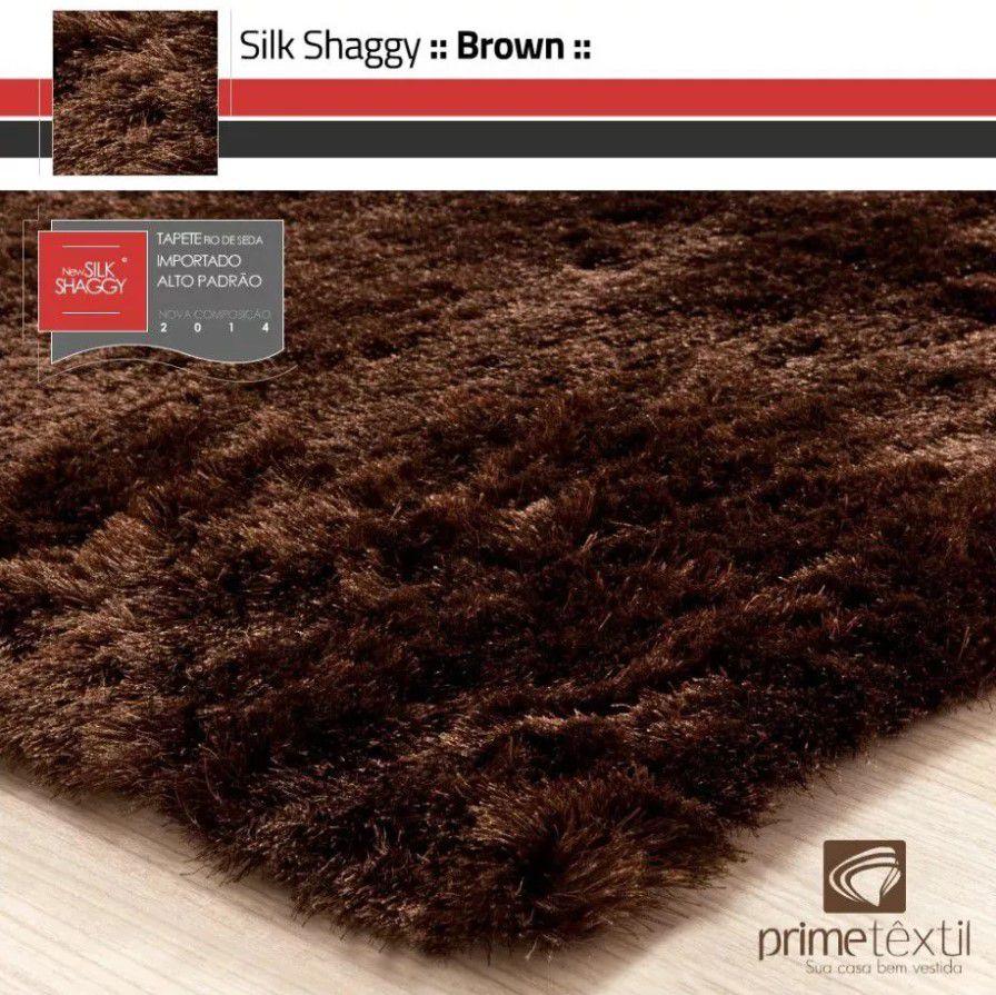 Tapete Silk Shaggy Brown, Marrom , Fio de Seda 40mm 2,00 x 3,00m