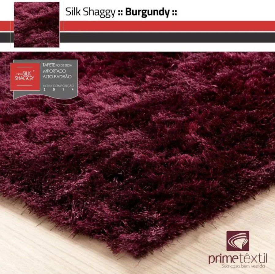 Tapete Silk Shaggy Burgundy, Vinho Bordô, Fio de Seda 40mm 2,50 x 3,00m