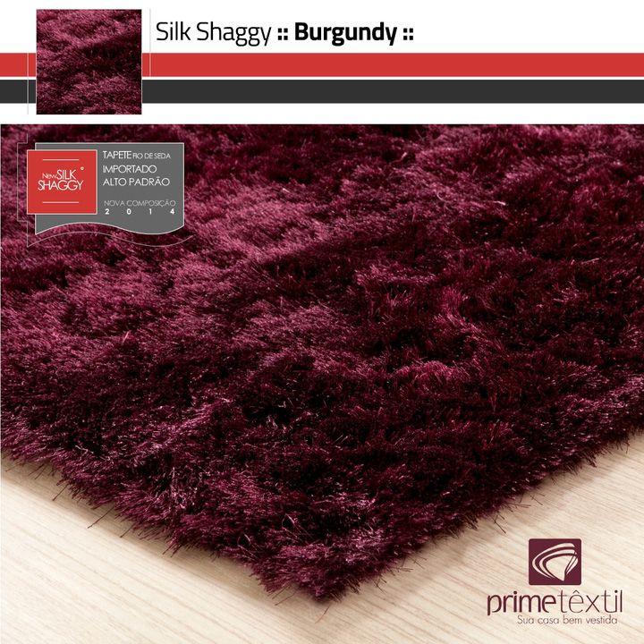 Tapete Silk Shaggy Burgundy - Vinho Bordô - Fios de Seda 40mm
