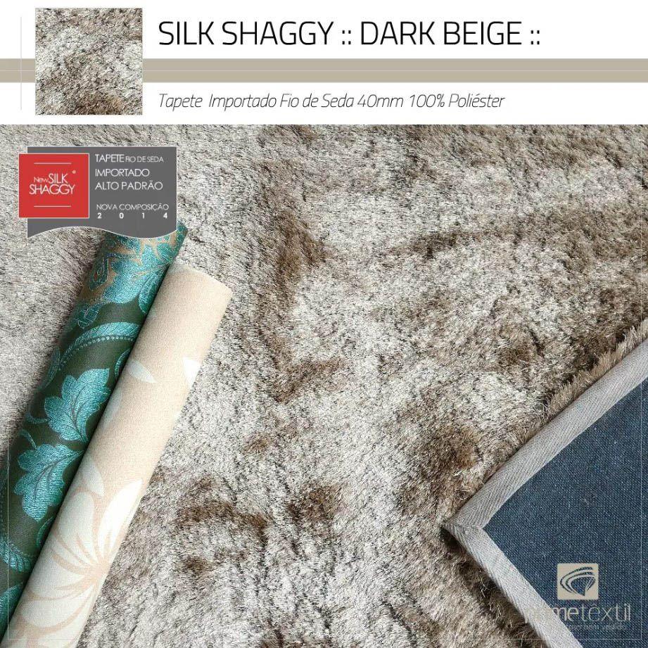 Tapete Silk Shaggy Dark Beige, Bege Cáqui, Fio de Seda 40mm 0,50 x 1,00m