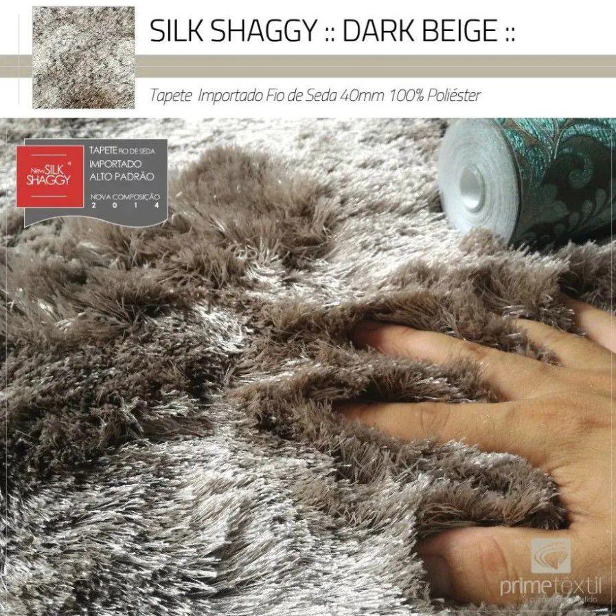 Tapete Silk Shaggy Dark Beige, Bege Cáqui, Fio de Seda 40mm 1,00 x 1,50m