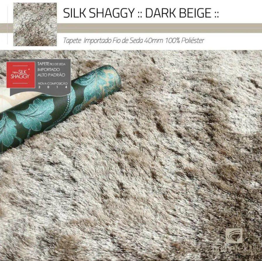 Tapete Silk Shaggy Dark Beige, Bege Cáqui, Fio de Seda 40mm 2,50 x 3,00m