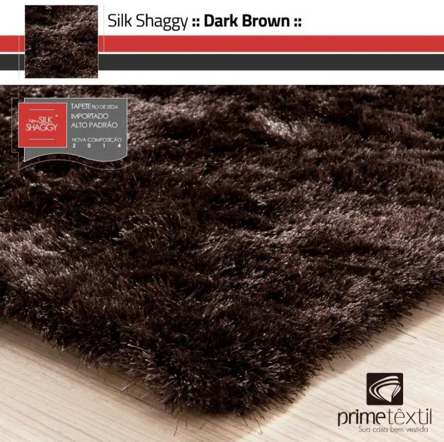 Tapete Silk Shaggy Dark Brown, Marrom Grafite, Fio de Seda 40mm 1,50 x 2,00m