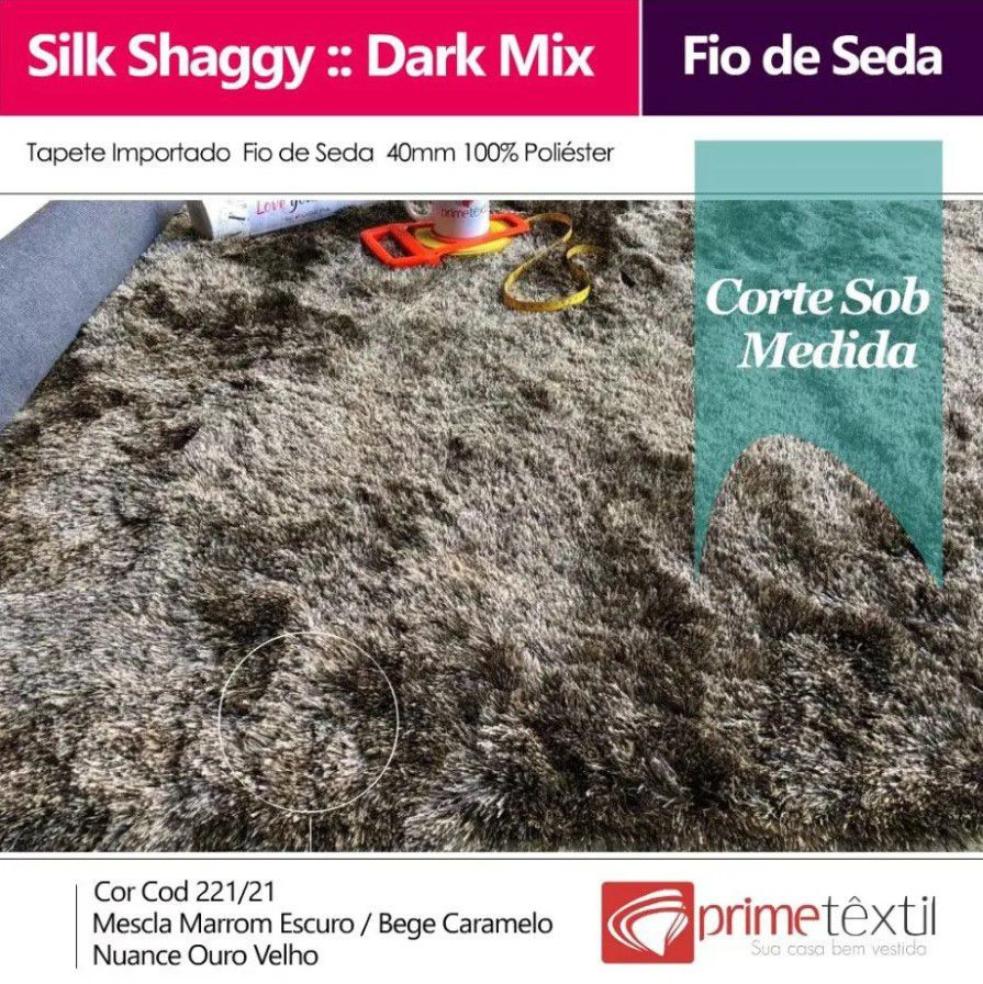 Tapete Silk Shaggy Dark Mix, Ouro Velho, Fio de Seda 40mm 1,00 x 1,50m