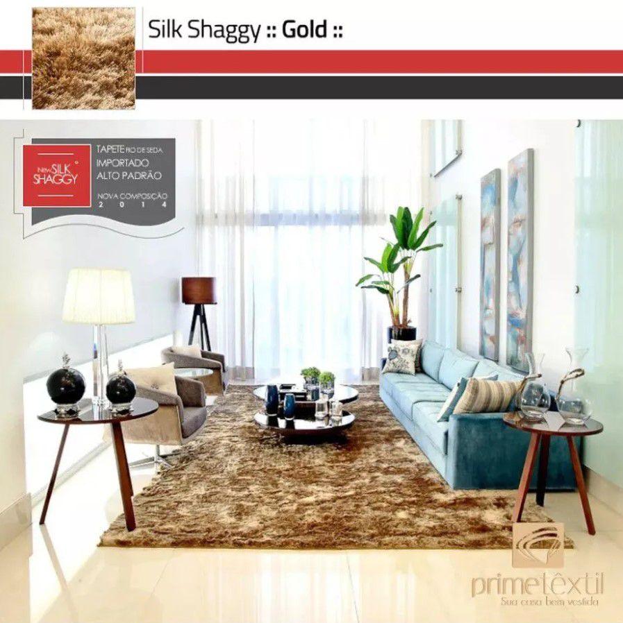 Tapete Silk Shaggy Gold, Dourado, Fio de Seda 40mm 1,00 x 1,50m