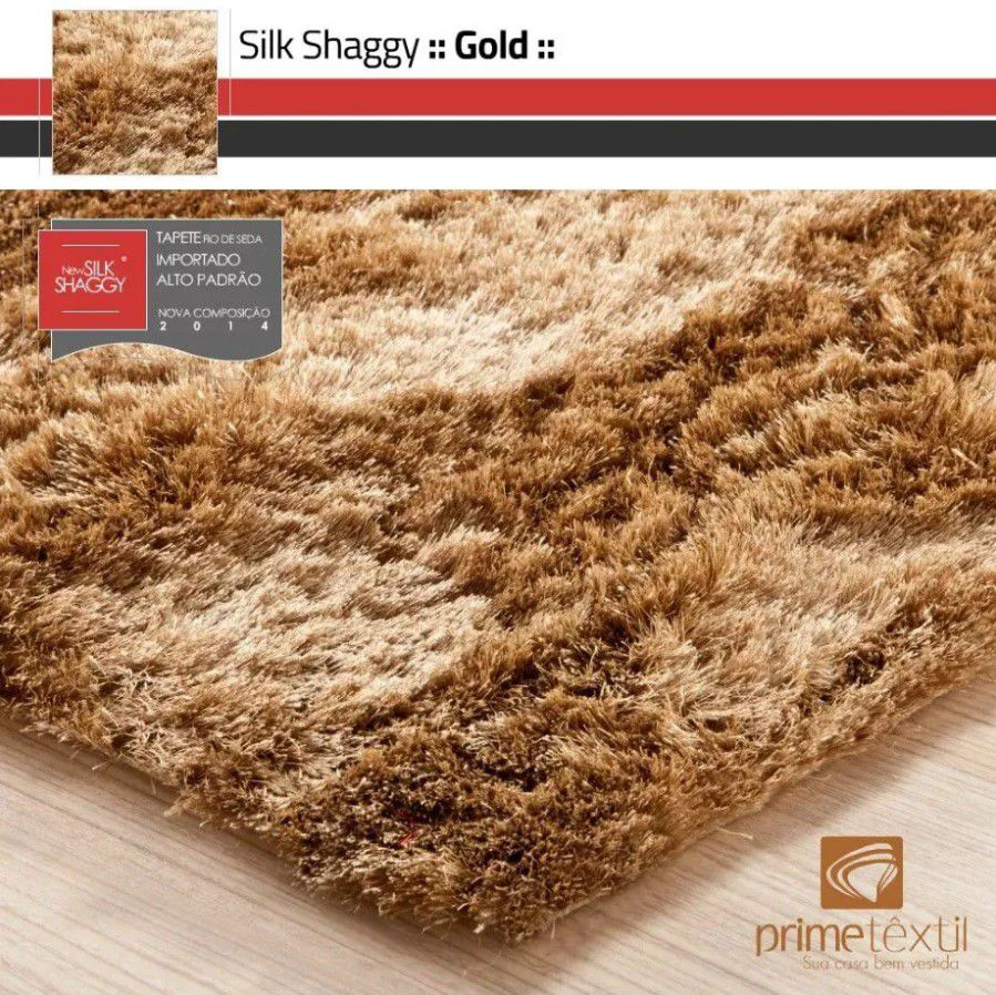 Tapete Silk Shaggy Gold, Dourado, Fio de Seda 40mm 2,00 x 3,00m