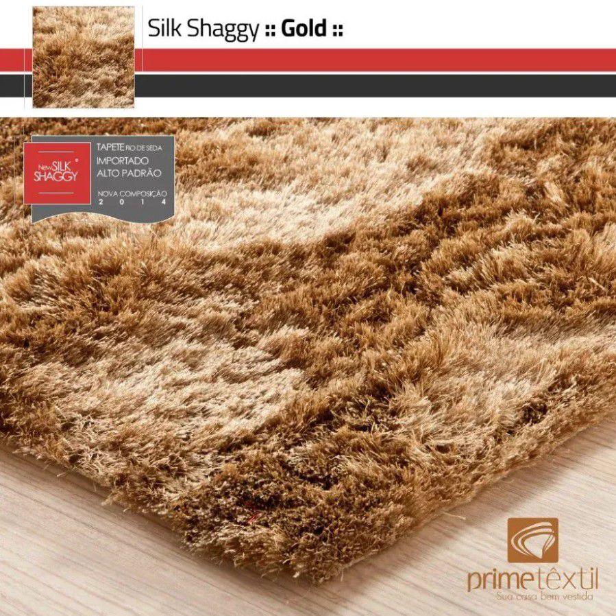 Tapete Silk Shaggy Gold, Dourado, Fio de Seda 40mm 3,00 x 4,00m