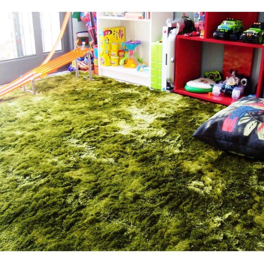 Tapete Silk Shaggy Green, Verde, Fio de Seda 40mm 0,50 x 1,00m