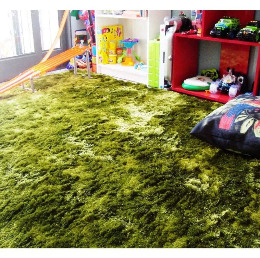 Tapete Silk Shaggy Green, Verde, Fio de Seda 40mm 1,50 x 2,00m