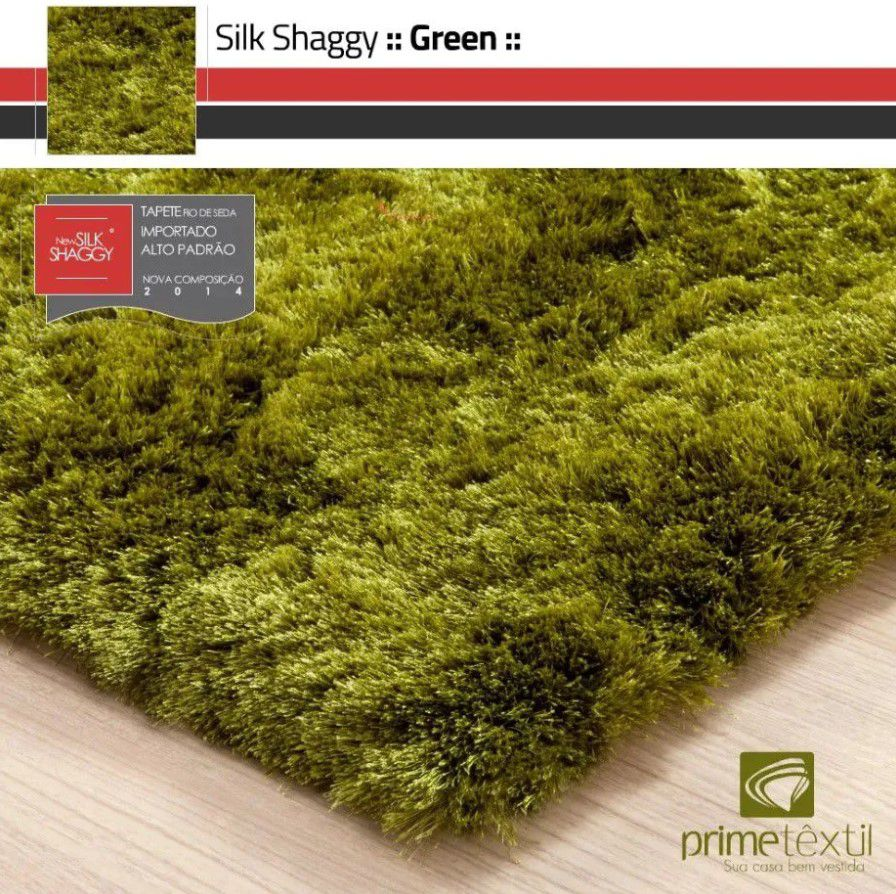 Tapete Silk Shaggy Green, Verde, Fio de Seda 40mm 2,50 x 3,00m