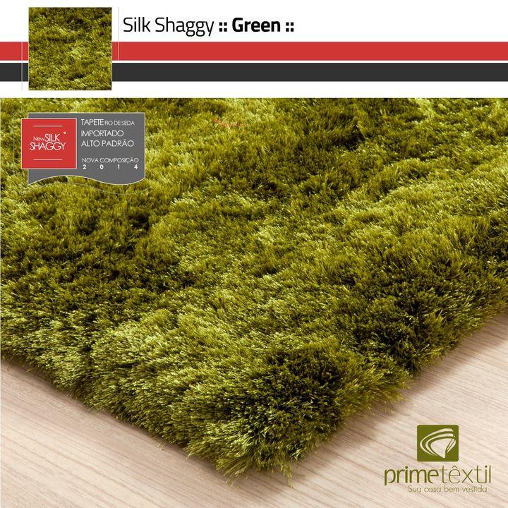 Tapete Silk Shaggy Green- Verde - Fios de Seda* 40mm