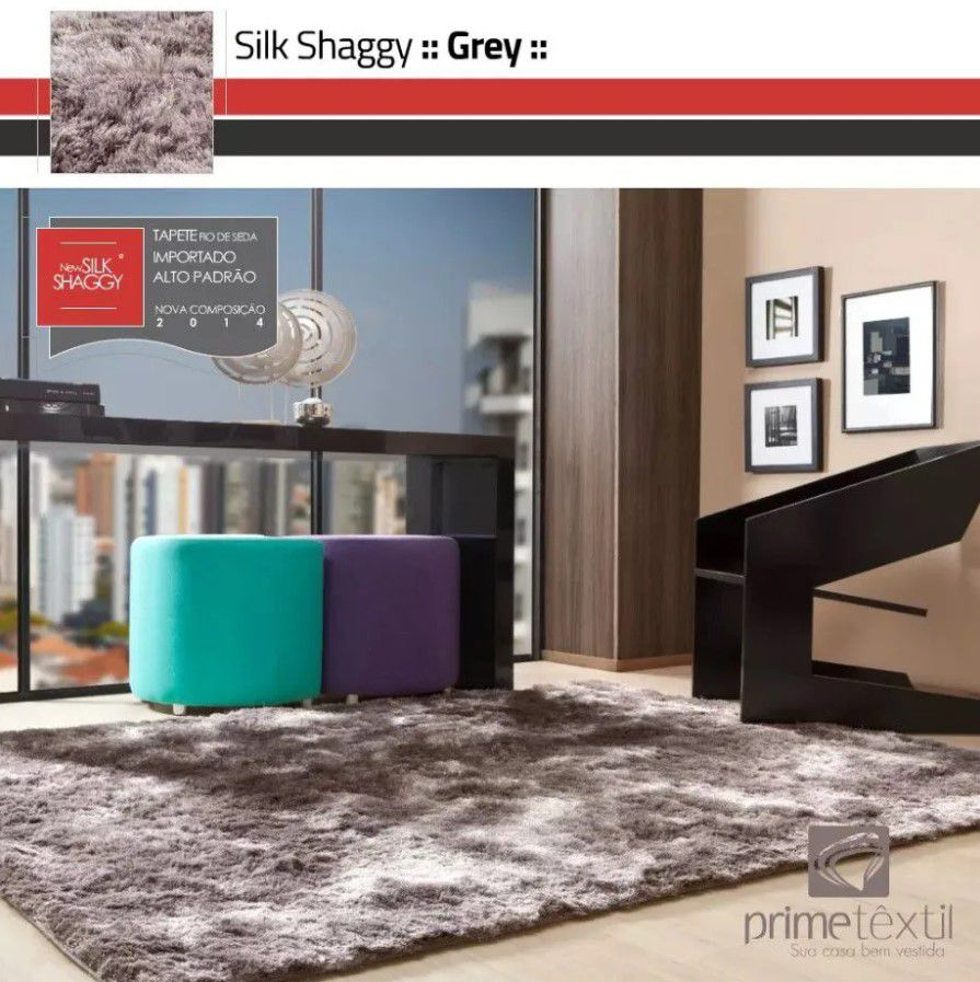 Tapete Silk Shaggy Grey, Cinza, Fio de Seda 40mm 0,50 x 1,00m