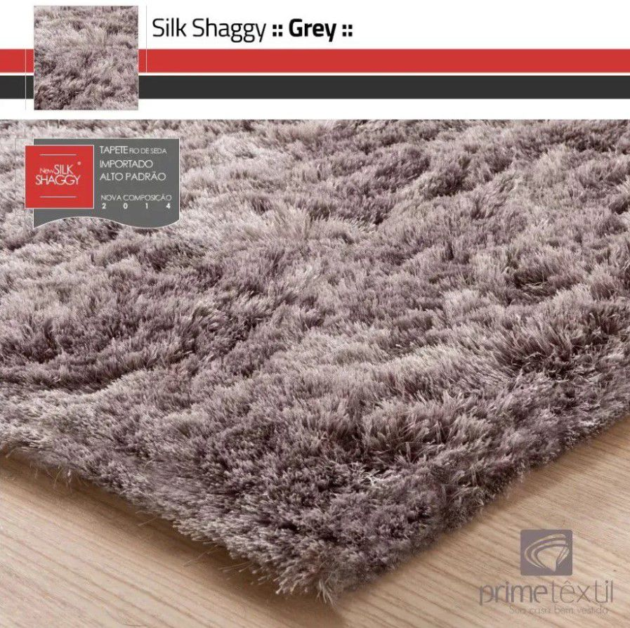 Tapete Silk Shaggy Grey, Cinza, Fio de Seda 40mm 2,50 x 3,00m