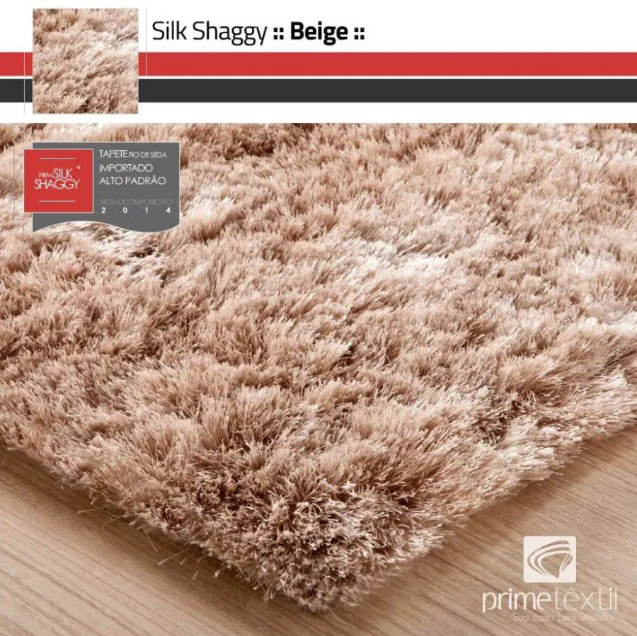 Tapete Silk Shaggy Light Beige, Bege Marfim, Fio de Seda 40mm 0,50 x 1,00m
