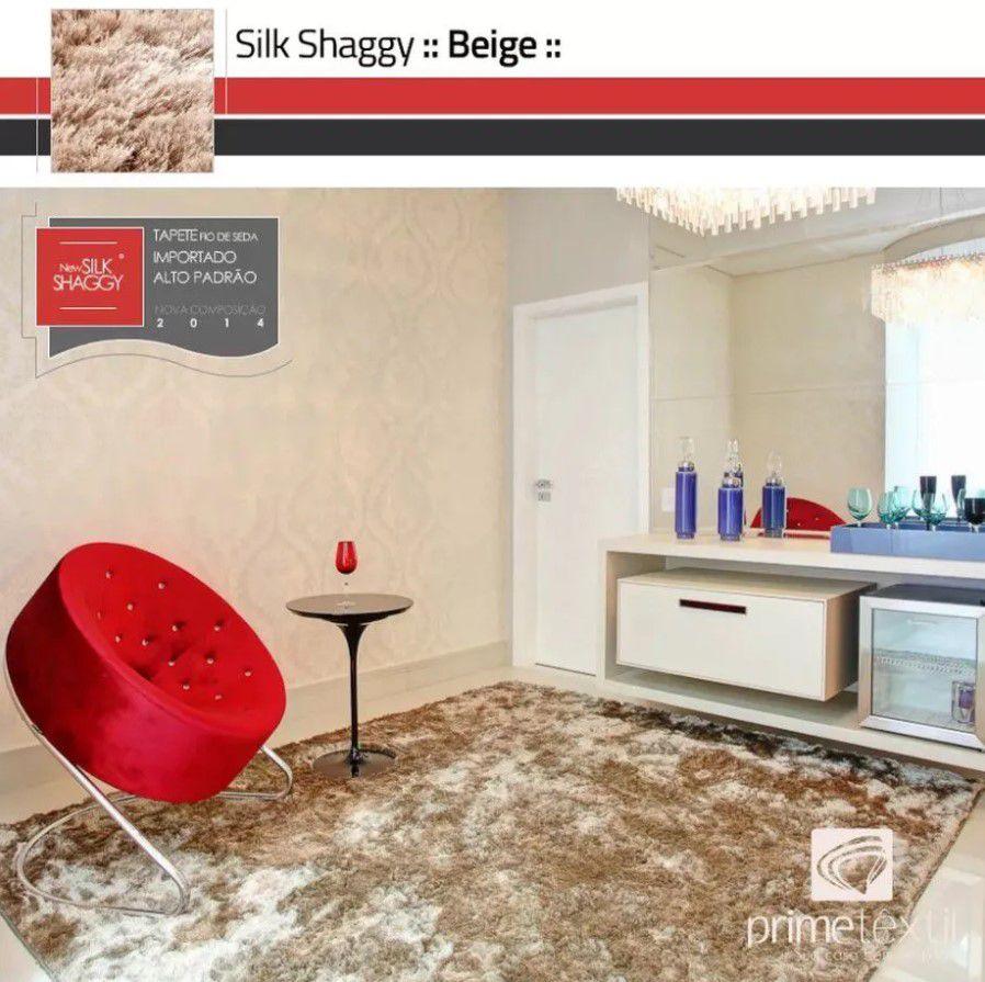 Tapete Silk Shaggy Light Beige, Bege Marfim, Fio de Seda 40mm 1,50 x 2,00m