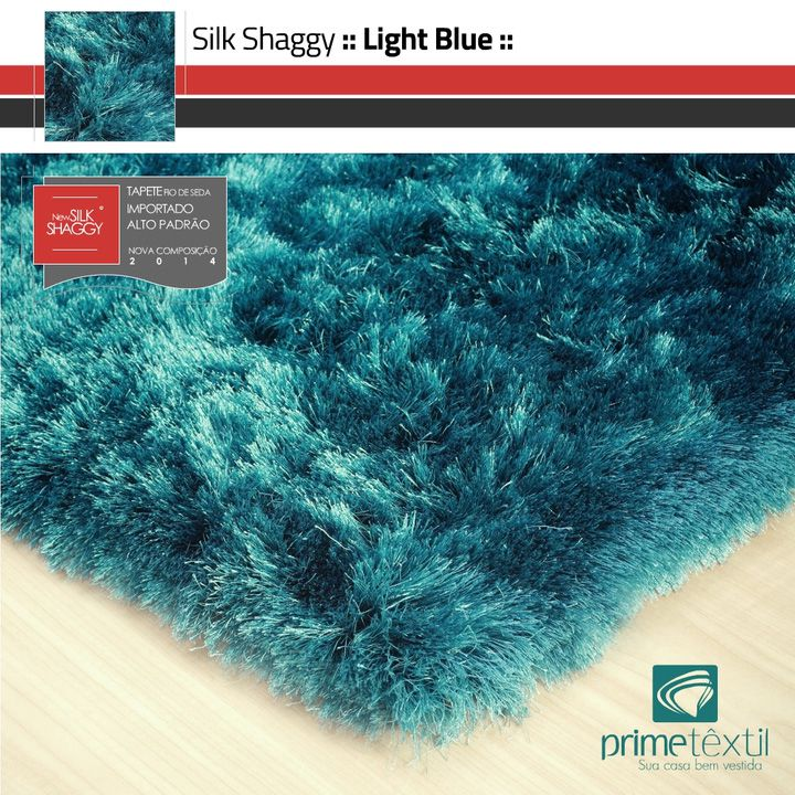 Tapete Silk Shaggy Light Blue - Azul Turquesa - Fios de Seda* 40mm