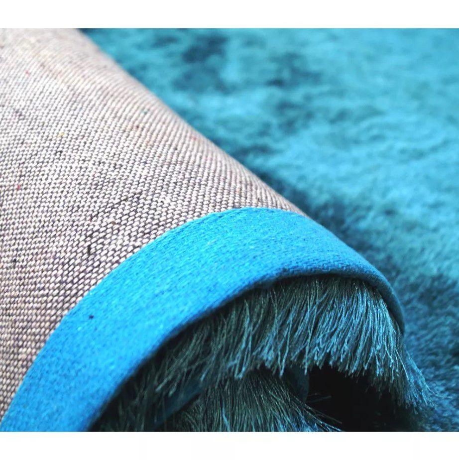Tapete Silk Shaggy Light Blue, Azul Turquesa Tiffany, Fio de Seda 40mm 0,50 x 1,00m