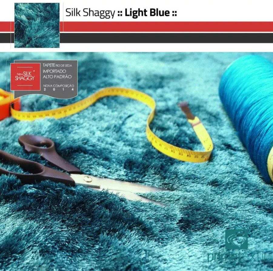 Tapete Silk Shaggy Light Blue, Azul Turquesa Tiffany, Fio de Seda 40mm 1,50 x 2,00m
