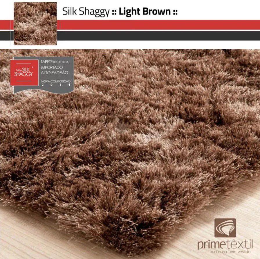 Tapete Silk Shaggy Light Brown, Marrom Bronze, Fio de Seda 40mm 2,00 x 3,00m