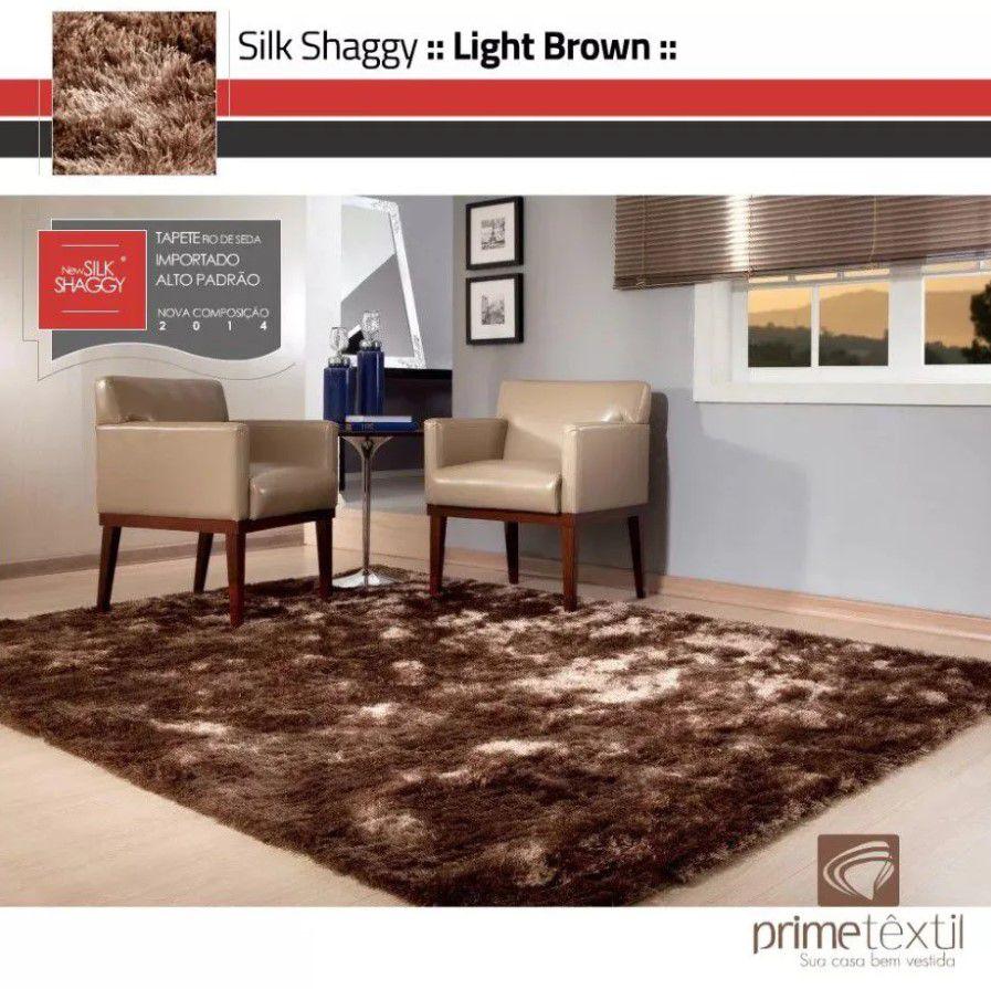 Tapete Silk Shaggy Light Brown, Marrom Bronze, Fio de Seda 40mm 2,50 x 3,00m