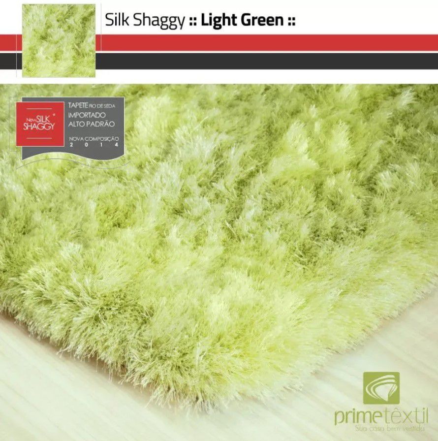 Tapete Silk Shaggy Light Green Verde Claro Fio de Seda 40mm 1,50 x 2,00m