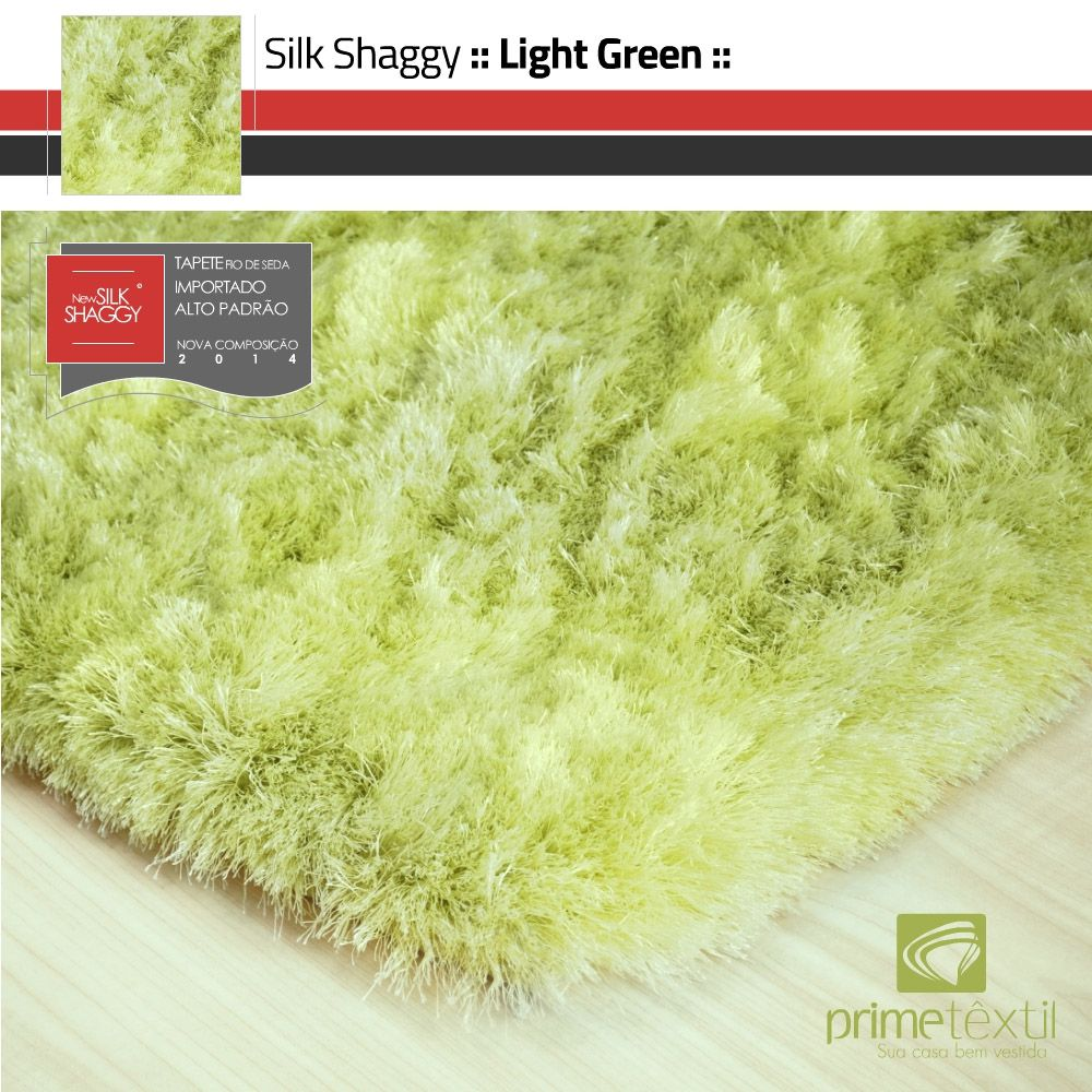 Tapete Silk Shaggy Light Green, Verde Claro, Fio de Seda 40mm 0,50 x 1,00m