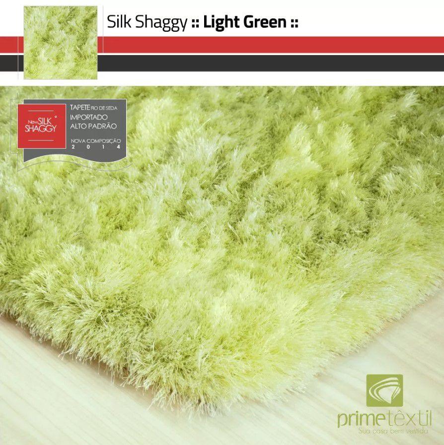 Tapete Silk Shaggy Light Green Verde Claro Fio de Seda 40mm 1,00 x 1,50m