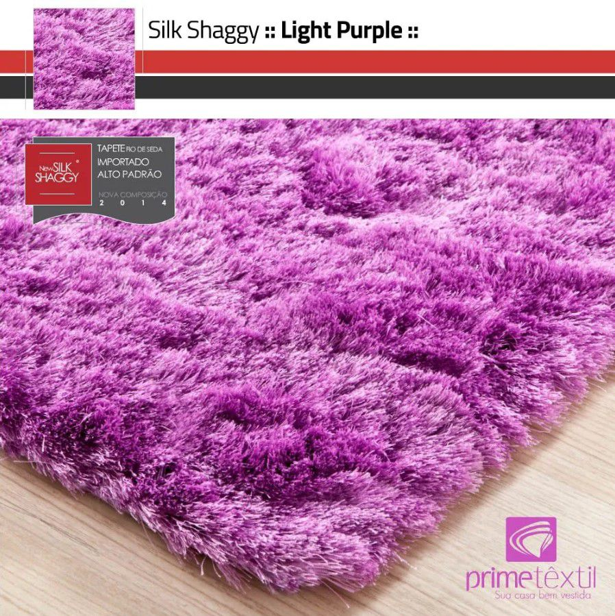 Tapete Silk Shaggy Light Purple, Rosa Púrpura, Fio de Seda 40mm 1,50 x 2,00m