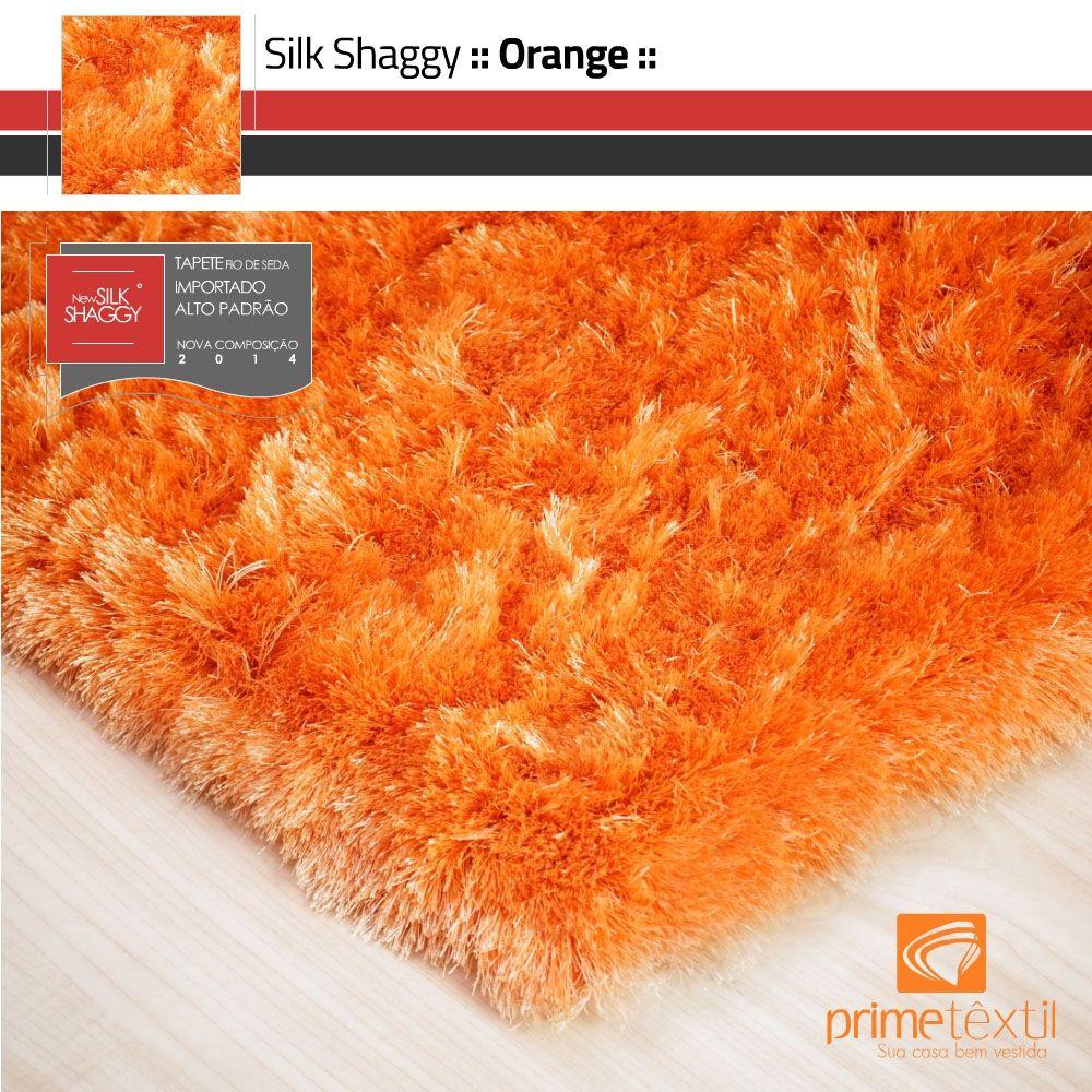 Tapete Silk Shaggy Orange, Laranja, Fio de Seda 40mm 0,50 x 1,00m