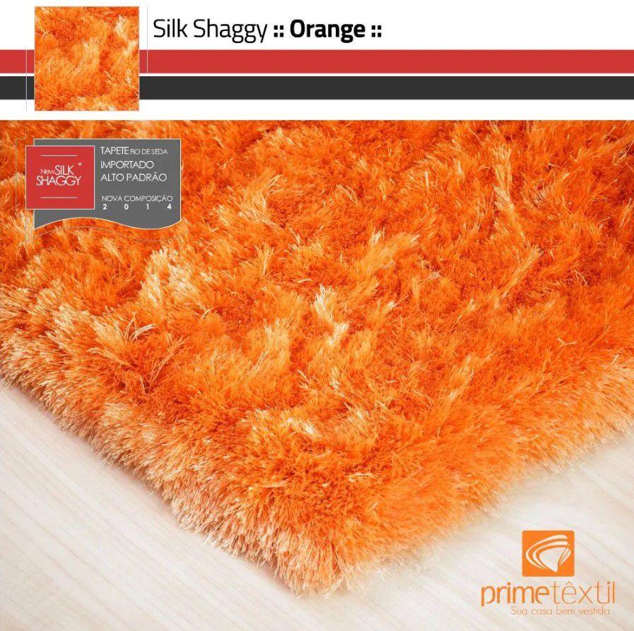 Tapete Silk Shaggy Orange, Laranja, Fio de Seda 40mm 1,00 x 1,50m