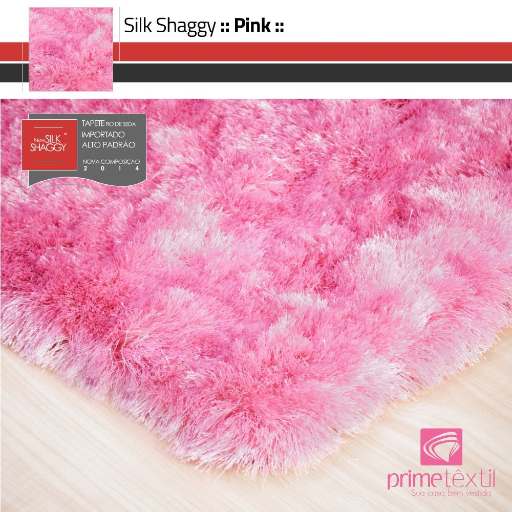 Tapete Silk Shaggy Pink, Rosa, Fio de Seda 40mm 0,50 x 1,00m