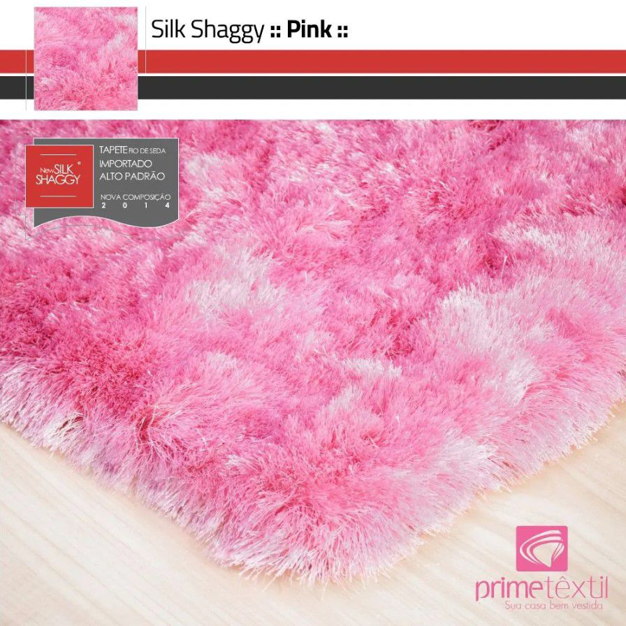 Tapete Silk Shaggy Pink, Rosa, Fio de Seda 40mm 1,00 x 1,50m